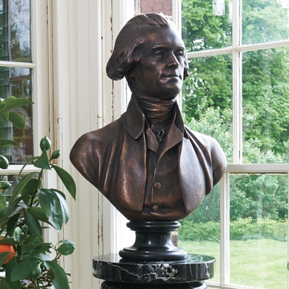 Houdon Solid Bronze Jefferson Bust