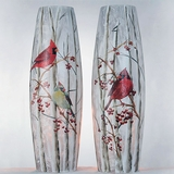Cardinals & Berries Lighted Vases