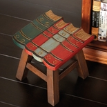 Carved Wood Library Books Stool
