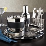 Stainless Steel and Leather Complete Bar Set