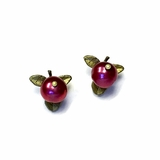 Cranberry Freshwater Pearl Post Earrings