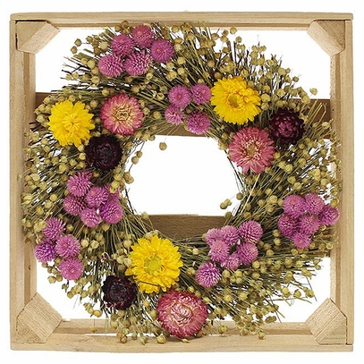 Crated Dried Strawflower and Globe Amaranth Wreath 10