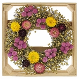 "Crated Dried Strawflower and Globe Amaranth Wreath 10""D"