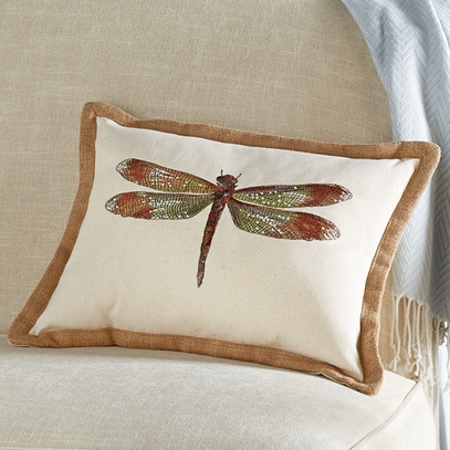 Embroidered Dragonfly Pillow