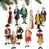 Historic Figures Embroidered Fabric Ornaments Set of 11