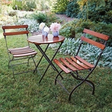 Folding Stainless Steel and Wood Bistro Set