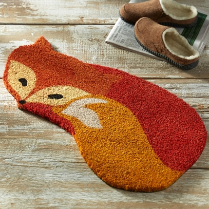 Fox-Shaped Coir Welcome Mat