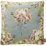 "Framed Flower Bouquet Cotton Pillow Cover 20"" Square"