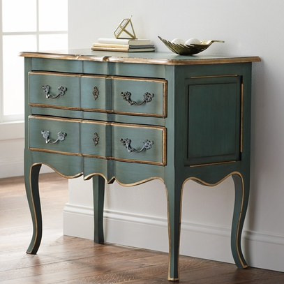 French Blue Handcrafted Mahogany Chest