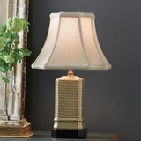 French Gold Geometric-Patterned Porcelain Lamp