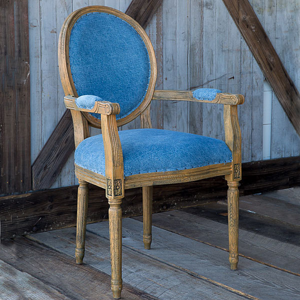 French Style Blue Denim Oval Back Chair