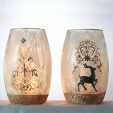 Gold Trimmed Lighted Vases
