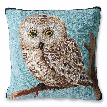 Hand-Hooked Owl Pillow