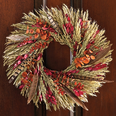 Harvest Feather Wreath 16