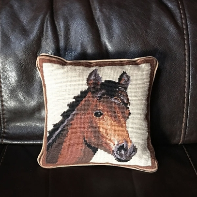Horse Needlepoint Pillow