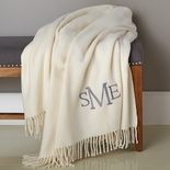 Ivory Monogram Luxurious Cotton Throw