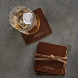 Jefferson Signature Brown Leather Coasters