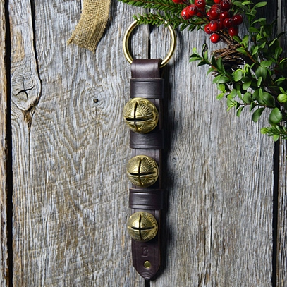 Leather and Graduated Solid Brass Sleigh Bells