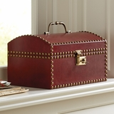 Leather Nailhead Document Box