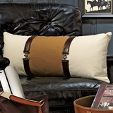 Leather-Trimmed Pillow