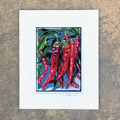 Long Red Cayenne Pepper Matted Print