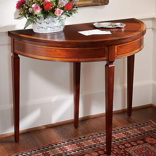 mahogany demi lune card table. Black Bedroom Furniture Sets. Home Design Ideas