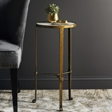 Marble Topped Brass Finished Side Table
