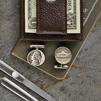 Monticello Nickel Cufflink Set