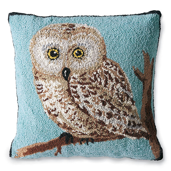 Hand Hooked Owl Pillow
