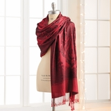 Red Patterned Pashmina Shawl
