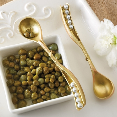 Gold Peapod Condiment Spoon Set