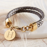 Personalized Braided Leather Bracelet