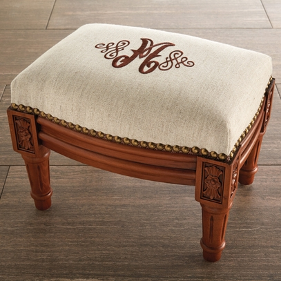 Personalized Embroidered Nailhead Footstool