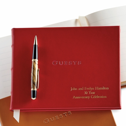 Personalized Red Leather Guest Book