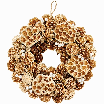 Pinecone & Lotus Wreath