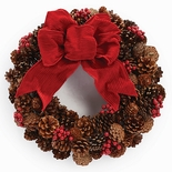 "Pinecone & Red Berry Wreath 17""D"