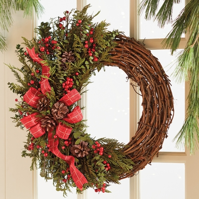 Pinecones & Berries Twig Wreath