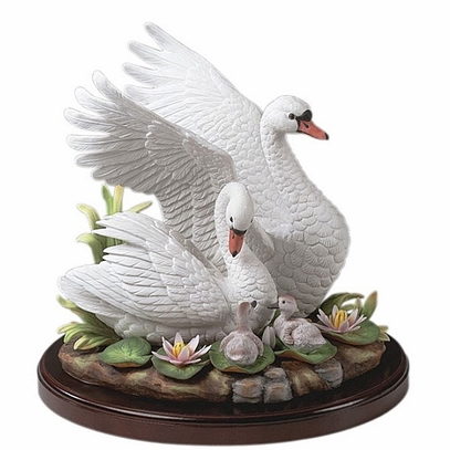 Porcelain Mute Swan Family Sculpture