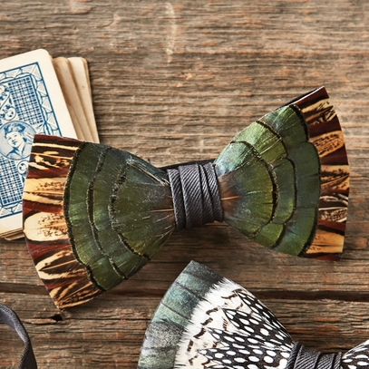Ravenwood Pheasant Feather Bow Tie