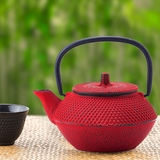 Red Cast-Iron Teapot