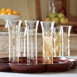 Six Gold-Trimmed Champagne Flutes