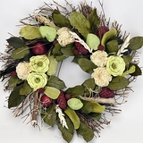 "Sun Ripened Raspberry Scented Wreath 22""D"