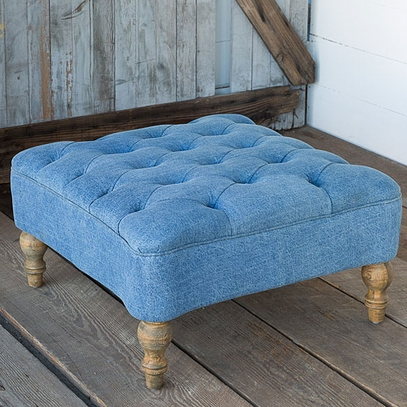 Tufted Blue Denim Square Ottoman