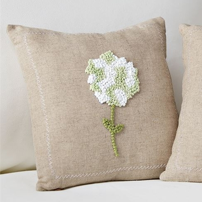 White Hydrangea French Knot Pillow