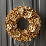 "Wood Rose Wreath 16""D"