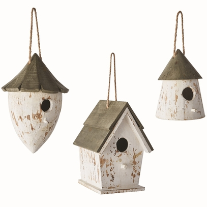 Wooden Birdhouse Ornaments Trio