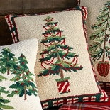 Pine Tree with Garland Hooked Wool Pillow