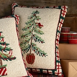 Pine Tree with Red Bird Hooked Wool Pillow