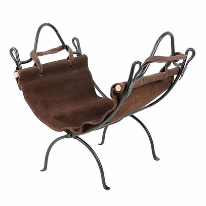 Wrought Iron Log Stand and Suede Carrier