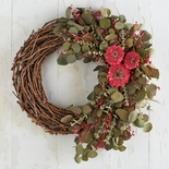 "Zinnia and Twig Wreath 20""D"